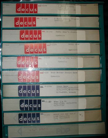 Digital Equipment Corporation PDP-8 Music Program Papertapes 152 152a 162
